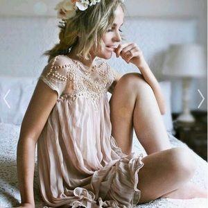 chicwish beaded pleated ruffled  dress